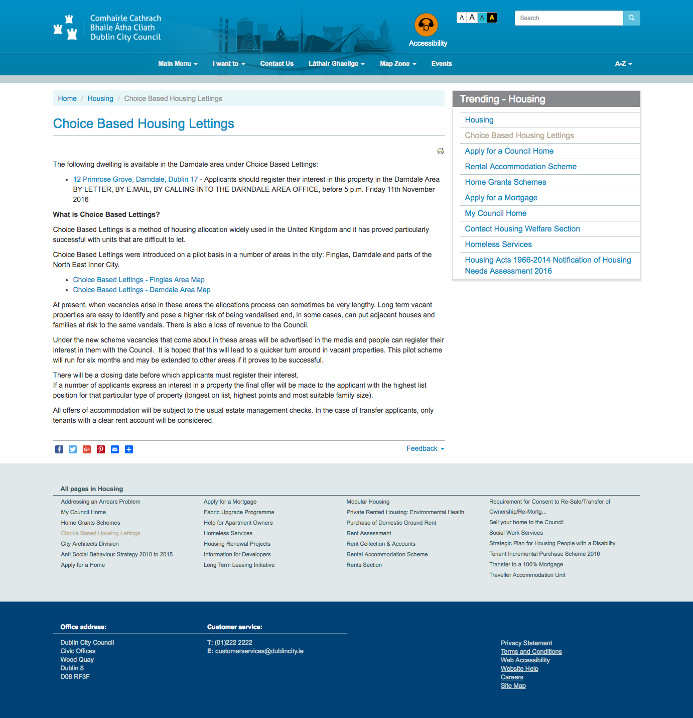 Dublin City Council's old content template. Showing two forms of secondary navigation and verbose content.